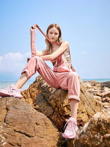 麦寻女装品牌2020春夏粉色背带裤