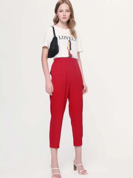 麦寻女装品牌2020春夏红色七分裤