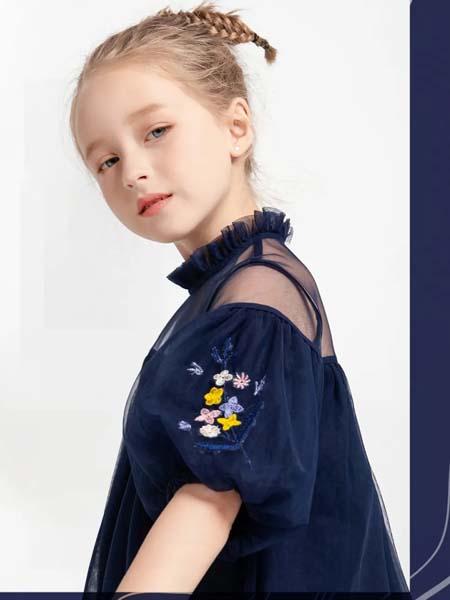安米莉女装品牌2020春夏纱网袖肩深蓝色上衣