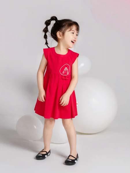 安米莉女装品牌2020春夏红色连衣裙