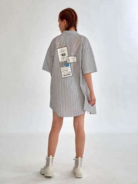 SY+女装品牌2020春夏条纹长款衬衫连衣裙