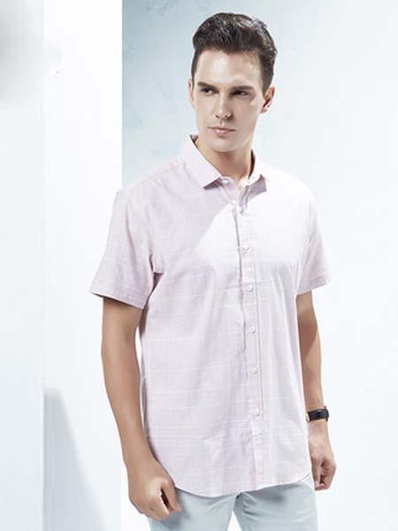 欧尼杰女装品牌2020春夏浅粉色衬衫短袖男士夏季休闲舒适纯棉青年商场同款XCU3312