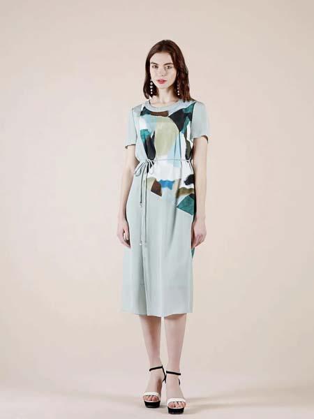 缘尚儿女装品牌2020春夏收腰系带绿色连衣裙
