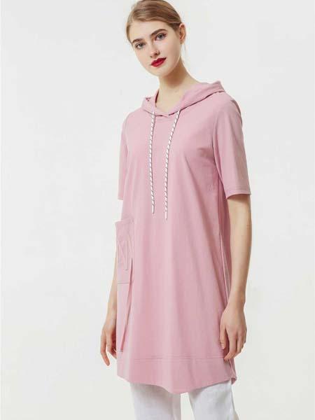 约布女装品牌2020春夏长款粉色连帽T恤