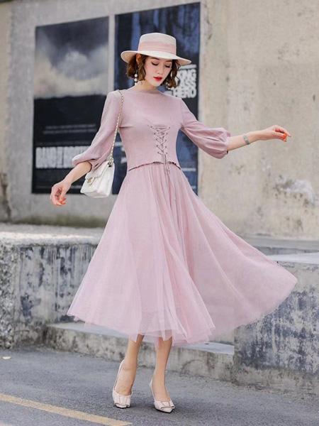 buxuan不宣女装品牌2020春夏修身甜美粉色连衣裙