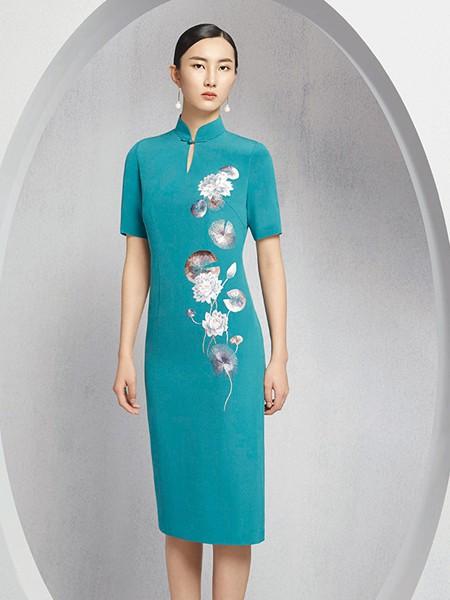懿菲女装品牌2020春夏蓝色旗袍