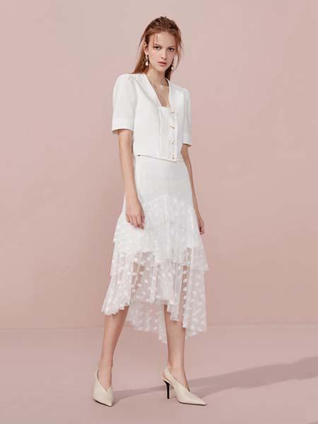 欧时力女装品牌2020德赢官方网站appV领白色连衣裙修身蕾丝不规则裙边