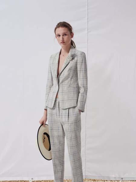 唯尚VESAS女装品牌彩38平台2020春夏V领大格纹西装套装