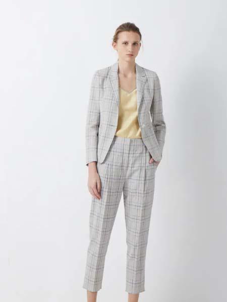 唯尚VESAS女装品牌2020春夏大格纹灰色西装套装