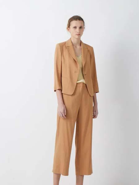 唯尚VESAS女装品牌2020春夏卡其黄色西装套装