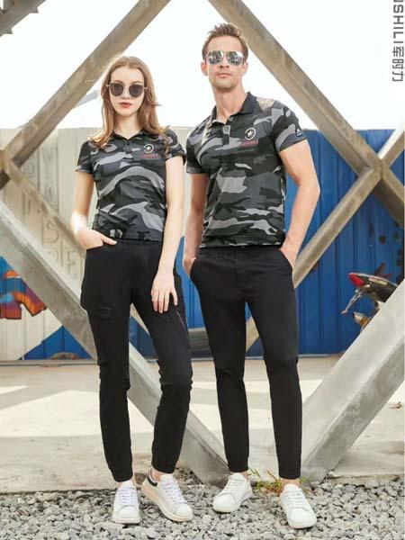 军时力男装品牌2020春夏迷彩T恤黑色修身长裤男女