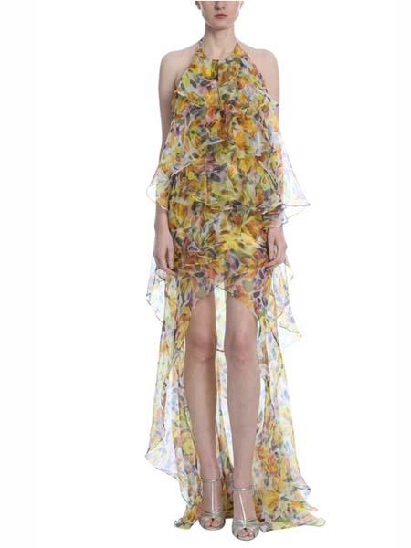 BADGLEY MISCHKA国际品牌2020春夏时尚无袖雪纺花色礼服