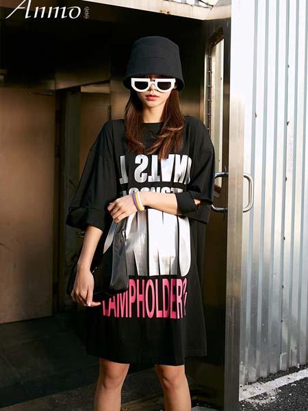 越也青少年品牌2020春夏字母黑色连衣裙长款T恤
