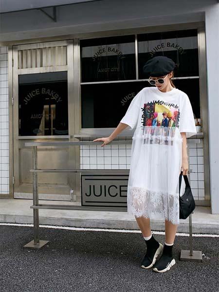 越也青少年品牌2020春夏白纱连衣裙白色