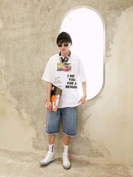 越也青少年品牌2020春夏字母白色T恤短裤牛仔