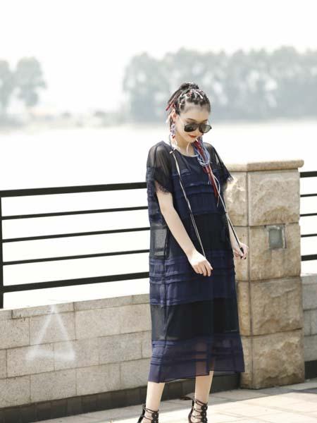 AttinaLife阿缇娜女装品牌2020春夏藏蓝色轻纱长款连衣裙