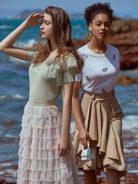 ANOTHER ONE女装品牌2020春夏蕾丝蝴蝶结绿色雪纺衫