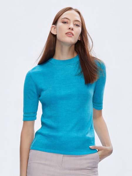 朗姿女装品牌2020春夏时尚圆领糖果色条纹红色羊毛衫女针织上衣