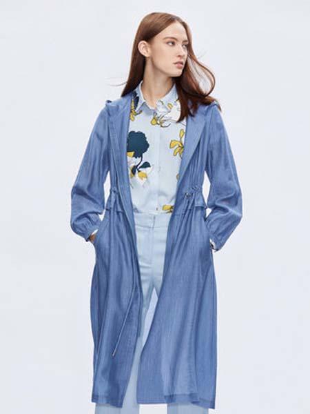 朗姿女装品牌2020春夏chic风衣女中长款韩版宽松薄款防风连帽外套