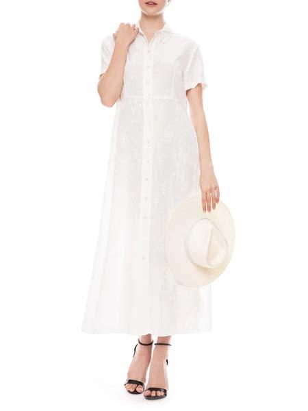 Ron Herman国际品牌2020春夏纯棉衬衫长款连衣裙