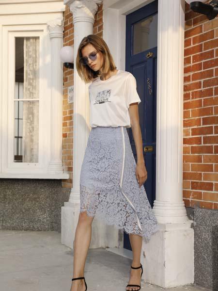 例格女装品牌2020春夏白色T恤蕾丝半裙