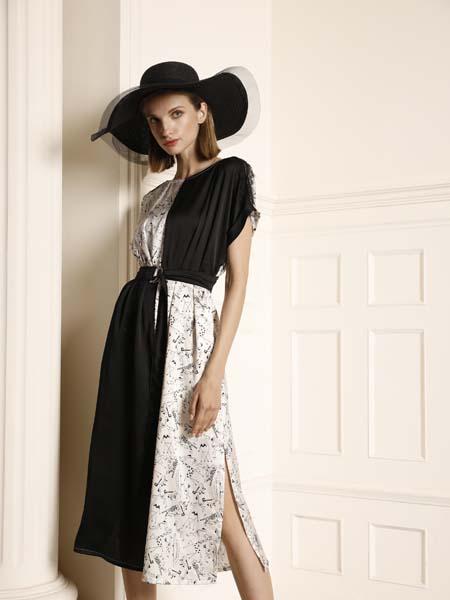 例格女装品牌2020春夏不对称时尚连衣裙