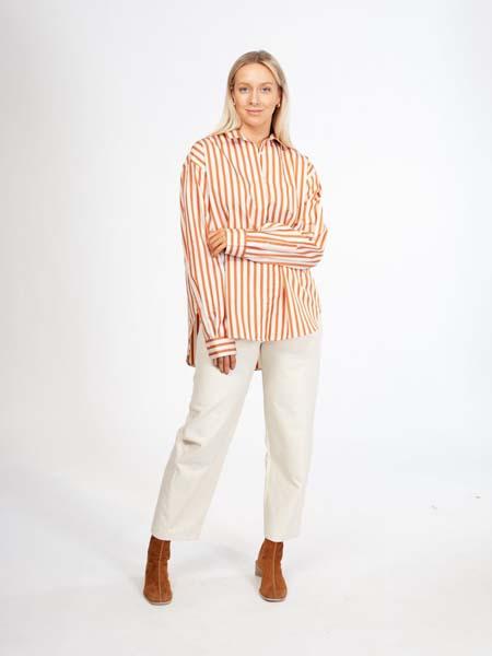 retro国际品牌2020春夏条纹长袖衬衫