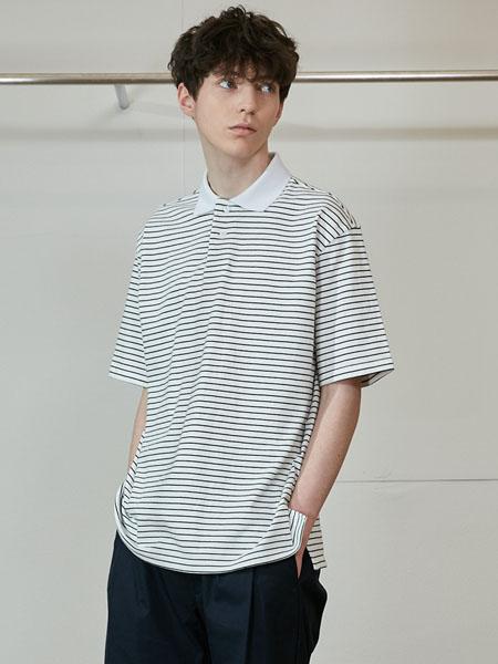 Horlisun国际品牌品牌2020春夏条纹翻领纯棉短袖
