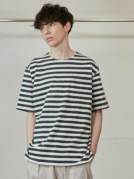Horlisun国际品牌品牌2020春夏黑白条纹纯棉短袖