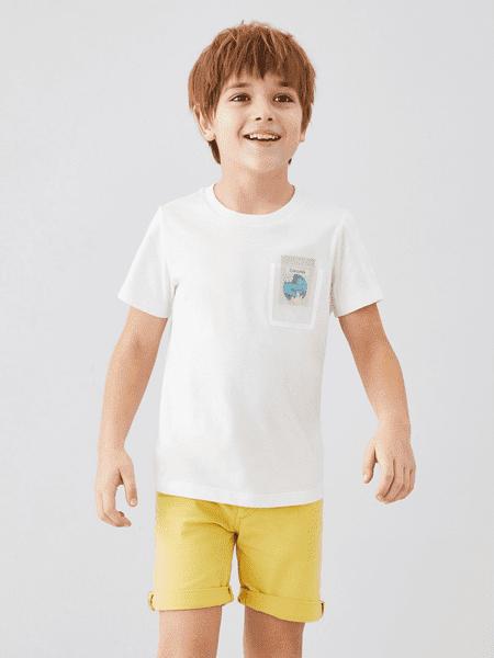 安奈儿童装品牌2020春夏男童圆领纯棉短袖