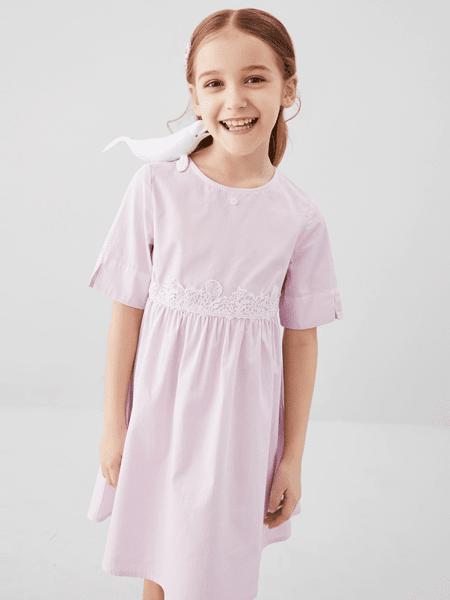 安奈儿童装品牌2020春夏棉麻清新邻家小妹连衣裙
