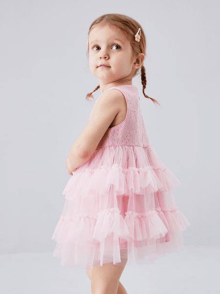 安奈儿童装品牌2020春夏女童网纱连衣裙