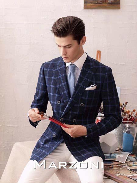 宛溢WANYIT男装品牌2020春夏深蓝色西装外套