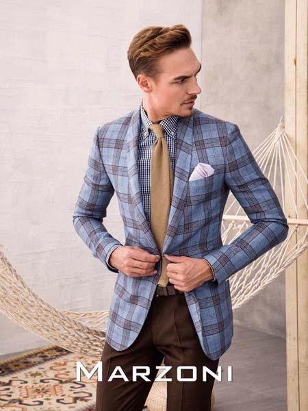 宛溢WANYIT男装品牌2020春夏蓝色西装外套