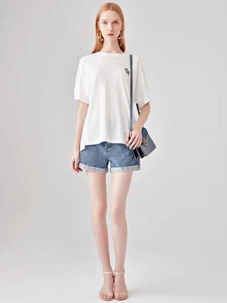丽芮女装品牌2020春夏牛仔裤白色T恤