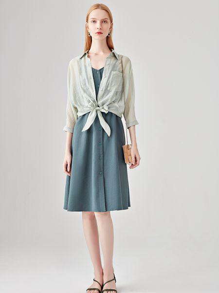 丽芮女装品牌2020春夏浅绿色薄款外套