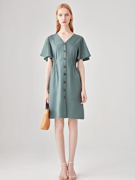 丽芮女装品牌2020春夏V领青色排扣连衣裙短款