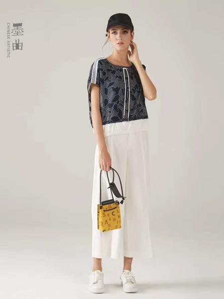 墨曲女装品牌2020春夏黑色T恤白色九分裤