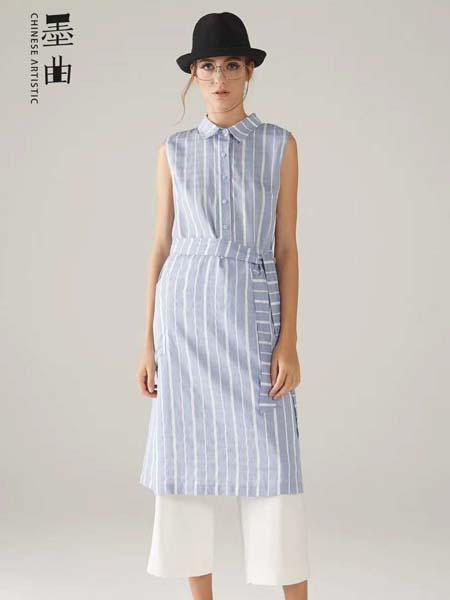 墨曲女装品牌2020春夏蓝色竖纹连衣裙