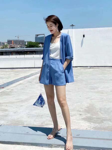 奕色女装品牌2020春夏蓝色西装套装短裤