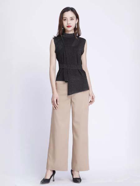 浩洋国际女装品牌2020春夏黑色不规则边上衣