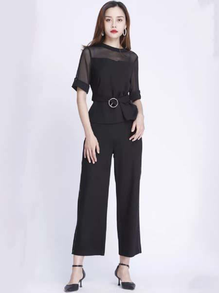 浩洋国际女装品牌2020春夏网纱肩颈上衣