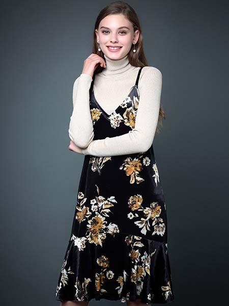 凯迪·米拉女装品牌2020春夏吊带黑色碎花连衣裙