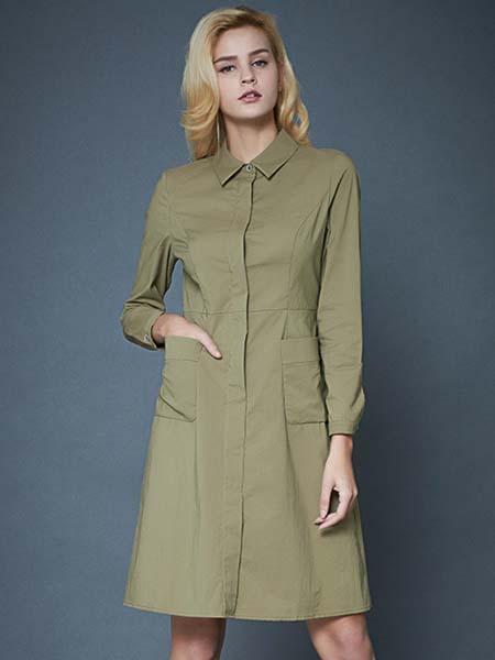 凯迪·米拉女装品牌2020春夏军绿色连衣裙工装