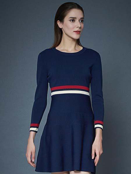 凯迪·米拉女装品牌2020春夏深蓝连衣裙
