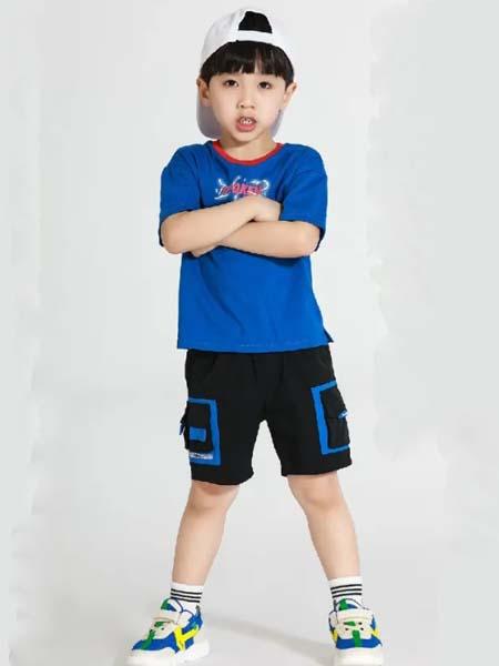 以纯童装童装品牌2020春夏深蓝色T恤