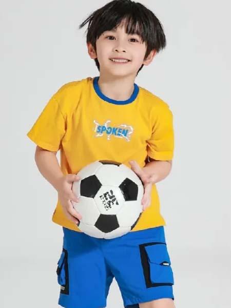 以纯童装童装品牌2020春夏蓝边圆领黄色T恤