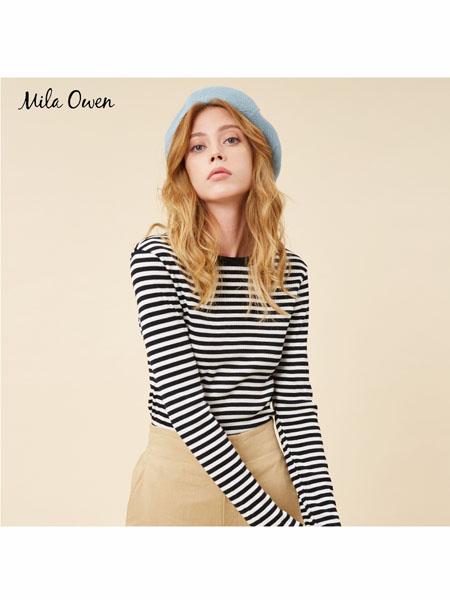 Mila Owen国际品牌2020春夏时尚修身条纹上衣