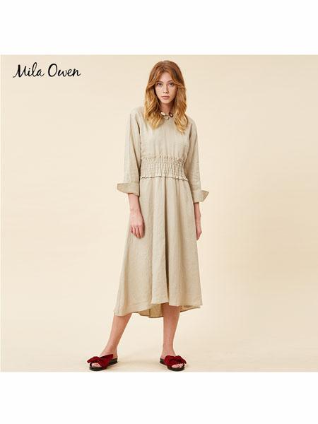 Mila Owen国际品牌2020春夏麻制长款连衣裙女