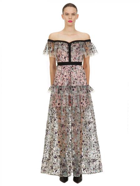 Self Portrai国际品牌2020春夏时尚知性温柔长款连衣裙